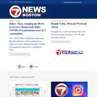 WHDH Daily Update: Mass. ramping up efforts to reverse 'dangerously high' COVID-19 transmission rates in 5 communities, Baker says