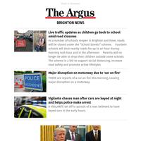 Brighton News: Live traffic updates as children go back to school amid road closures