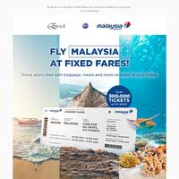 Fly Malaysia at Fixed Fares!