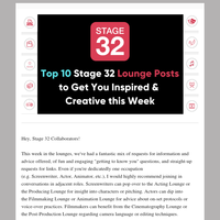 Blog Update: Top 10 Stage 32 Lounge Posts to Get You Inspired & Creative this Week