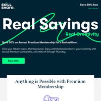 {NAME}, enjoy 30% off Premium Membership