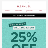 Last chance to save 25% off on wedding rings!
