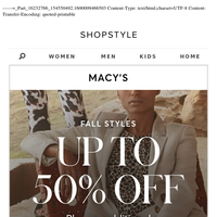 Up to 50% Off Fall Styles
