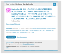 [New post] September 14, 2020 – NATIONAL CREAM FILLED DONUT DAY – NATIONAL BOSS/EMPLOYEE EXCHANGE DAY – NATIONAL LIVE CREATIVE DAY – NATIONAL EAT A HOAGIE DAY – NATIONAL VIRGINIA DAY – NATIONAL SOBER DAY