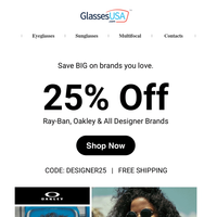 😍 You'll love this: Ray-Ban, Oakley & all designer brands ON SALE