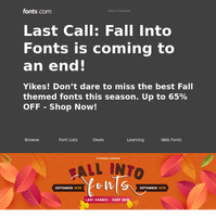 LAST CHANCE: UP TO 65% off our FALL Into Fonts SALE!