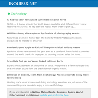 Morning News Updates: AI Robots serve restaurant customers in South Korea; Wildlife's funny side captured by finalists of photography awards; Pandemic-proof Apple to kick off lineup for critical holiday season