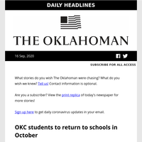 Back to school for OKC students; Horn on relief package; absentee ballots going out. Your morning headlines for Wednesday, Sept. 16, 2020