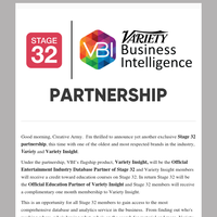 Variety Insight and Stage 32 Join Forces to Provide Industry Creatives and Professionals with Data, Analytics, & World Class Education