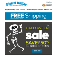Save up to 50% off All Halloween PLUS Free Shipping!