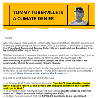 Tommy Tuberville is a climate change denier