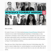From Our CEO: Introduce Yourself Weekend Begins - Stay Connected with Stage 32