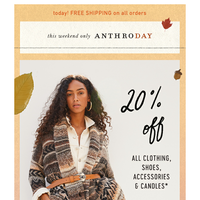 Autumn on your mind? 20% OFF ALL clothing!
