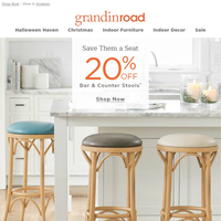 What a lineup: SAVE 20% on stools [&] Halloween today