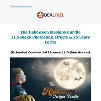 ‼️DC Deal‼️ Quirky Halloween Designs Bundle 🎃 11 PS Effects & 25 Fonts