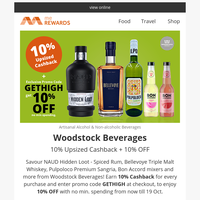 {NAME}, 🍹🍰 10% OFF + 10% Upsized Cashback on Artisanal Alcohol & Non-alcoholic Drinks! Offers on Mango cheesecake, Fish & Crisps and more!