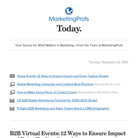 12 virtual-event tips | Global campaign and content best-practices | B2B digital ad forecast | Make content count with SEO | 11 signs you need a CRM