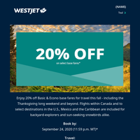 Hurry - 20% off select base fares