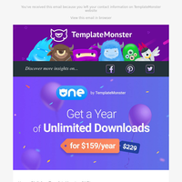 Happy Birthday, TemplateMonster ONE! Subscribe with a Discount