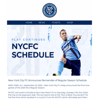 NYCFC Remaining Season Schedule