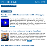 Global Nation: Four CIA men said to have drowned near PH while spying on China; Gulfstream Corp. delivers new aircraft that PH bought; Fil-Am DC-area food businesses trying to stay afloat