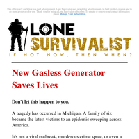 New Gasless Generator Saves Lives
