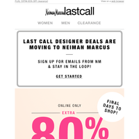 This is HUGE! Extra 80% off fashion's best names!