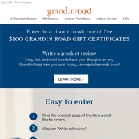 Enter to WIN a $100 gift certificate–write a review!