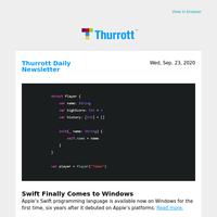 Swift Finally Comes to Windows
