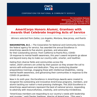 AmeriCorps Honors Alumni, Grantees with Awards that Celebrate Inspiring Acts of Service
