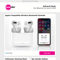 White Wireless Earbuds & Charging Box | LED Halloween Glowing Mask  | Garden Rattan Furniture Set | Apple iMac 21.5 A1311 Core  | Women's Lounge Set