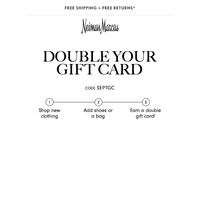 Double gift card offer ends tomorrow!