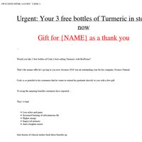 Urgent: 3 free bottles of turmeric for {NAME}