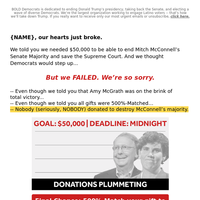 we're abandoning amy mcgrath [insufficient funds]