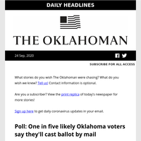 Will you vote by mail?; Norman in-person classes to resume; east side grocer coming soon. Your morning headlines for Thursday, Sept. 24, 2020