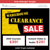Final Hours: Fall Warehouse Clearance - Starting at $20