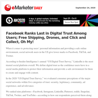 Facebook Ranks Last in Digital Trust Among Users; Free Shipping, Drones, and Click and Collect, Oh My!