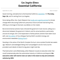 Essential California: Newsom's plan to phase out gas-powered cars