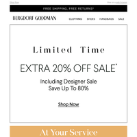 Limited Time: Extra 20% Off Sale