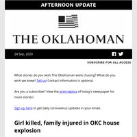 Girl killed, family injured in OKC house explosion; Triple X Road to be restored; 'Avengers' star voices support for state question and more