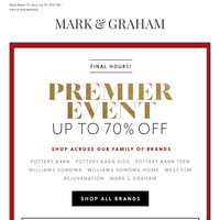 ENDS TONIGHT   Up to 70% Off Mark & Graham, Williams Sonoma, Pottery Barn, West Elm & More