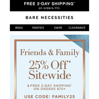 25% Off Sitewide   Shop Bras By Size   Friends & Family