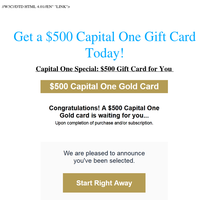 Capital One Special: $500 Gift Card for You