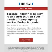 Toronto industrial bakery facing prosecution over death of temp agency worker Enrico Miranda