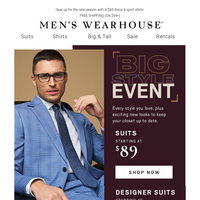 Big Style Event starts today! $89 suits