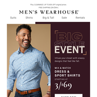 Ends tonight! 3/$69 dress & sport shirts + 2/$70 pants & jeans + $89 suits
