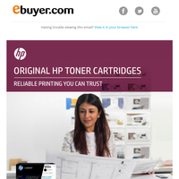 Toners you can trust! Original HP toner cartridges on offer at Ebuyer.
