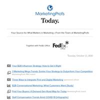 B2B influencer strategy | Mega trends | B2B conversational marketing | Find buyers | Staff compensation trends | SEO master class