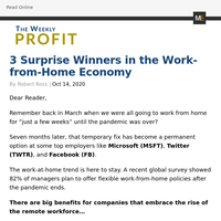 The Weekly Profit - 3 Surprise Winners in the Work-from-Home Economy