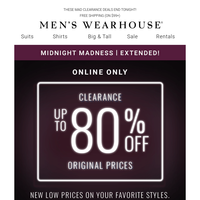 Midnight Madness Extended! $49.99 sport coats + $119.99 designer suits